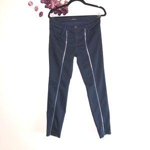 J Brand Front Jewel Zip Skinny in Blue Topaz Jeans